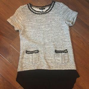 Tweed grey and black chain detail shirt
